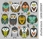 collection of cartoons owls and ... | Shutterstock .eps vector #1606180069