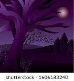 creepy tree halloween...   Shutterstock .eps vector #1606183240