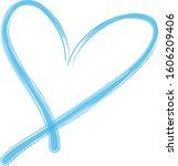 blue heart contour vector. hand ... | Shutterstock .eps vector #1606209406