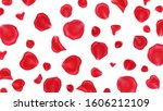 red rose petals  on white... | Shutterstock . vector #1606212109