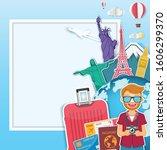 Happy Traveler Man On Luggage...