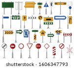 road sign isolated cartoon set... | Shutterstock .eps vector #1606347793