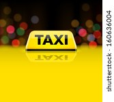 Yellow taxi car roof sign at night. Vector.