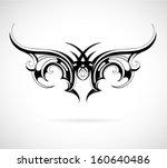 tribal art tattoo wing shape   Shutterstock .eps vector #160640486