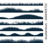 grass silhouette. horizontal... | Shutterstock .eps vector #1606405723