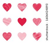 heart icons. set of hearts.... | Shutterstock .eps vector #1606424893