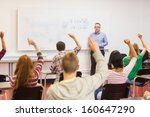 rear view of students with... | Shutterstock . vector #160647290