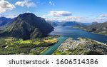 Panoramic aerial view of Andalsnes Norway from mountaintop