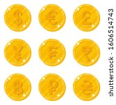 gold coins with a currency...   Shutterstock .eps vector #1606514743