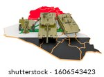 Combat vehicles on Iraqi map. Military defence of Iraq concept, 3D rendering isolated on white background