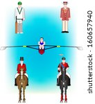 Sports Vector Illustrations - Cricket, Rowing and Equestrian Sport.