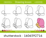 drawing tutorial a butterfly....   Shutterstock .eps vector #1606592716
