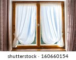 Old Wooden Window With White...