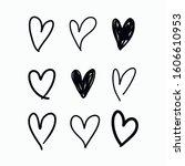 vector set of doodle hand drawn ... | Shutterstock .eps vector #1606610953