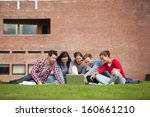five casual students sitting on ... | Shutterstock . vector #160661210