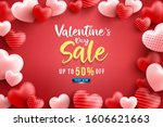 valentine's day sale 50  off... | Shutterstock .eps vector #1606621663