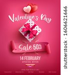 valentine's day sale poster or... | Shutterstock .eps vector #1606621666