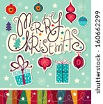 vintage vector christmas card | Shutterstock .eps vector #160662299