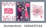 set of valentine's day greeting ... | Shutterstock .eps vector #1606635166