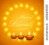 beautiful happy diwali text for ... | Shutterstock .eps vector #160664030