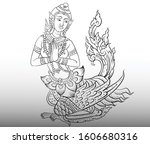 thai traditional tattoo  thai... | Shutterstock .eps vector #1606680316