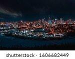 Night View Of Downtown Edmonton ...