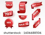 red price tags. ribbon sale... | Shutterstock .eps vector #1606688506