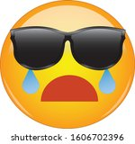 cool face emoji crying. yellow...   Shutterstock .eps vector #1606702396