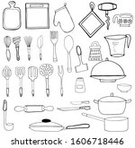 doodle kitchen utensil set ... | Shutterstock .eps vector #1606718446
