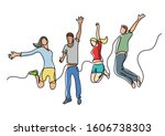 continuous line drawing of four ... | Shutterstock .eps vector #1606738303