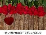 Row Of Roses With  Red  Heart ...