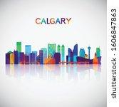 calgary skyline silhouette in...   Shutterstock .eps vector #1606847863