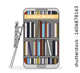 library in the phone. the robot ... | Shutterstock .eps vector #1606878163