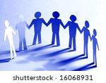 paper team linked together... | Shutterstock . vector #16068931
