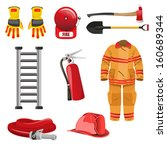 ax,clip-art,clipart,design element,drawing,equipment,extinguisher,fire alarm,fire hose,firefighter,gloves,helmet,hose,icon,illustration