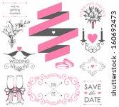 vector set of wedding  design... | Shutterstock .eps vector #160692473