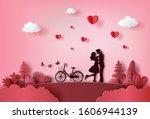 cute couple in love hugging...   Shutterstock .eps vector #1606944139