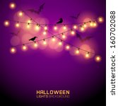 warm glowing halloween lights.... | Shutterstock .eps vector #160702088