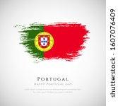 portugal flag made in brush... | Shutterstock .eps vector #1607076409