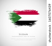 happy independence day of sudan.... | Shutterstock .eps vector #1607076439