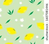 lemon fruit seamless pattern... | Shutterstock .eps vector #1607081446