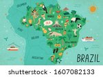 brazil map hand drawn vector... | Shutterstock .eps vector #1607082133