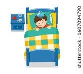 sick cute boy sleep in bed with ...   Shutterstock .eps vector #1607094790