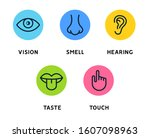 five human senses vision eye ... | Shutterstock . vector #1607098963