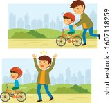 father teaches his little kid... | Shutterstock .eps vector #1607118259