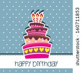 happy birthday card party with... | Shutterstock . vector #160711853