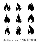 fire flames set vector icons.... | Shutterstock .eps vector #1607170330