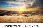 beautiful sunrise in the autumn ... | Shutterstock . vector #160717778