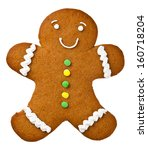 gingerbread man isolated on... | Shutterstock . vector #160718204