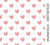 heart seamless pattern ... | Shutterstock .eps vector #1607187610